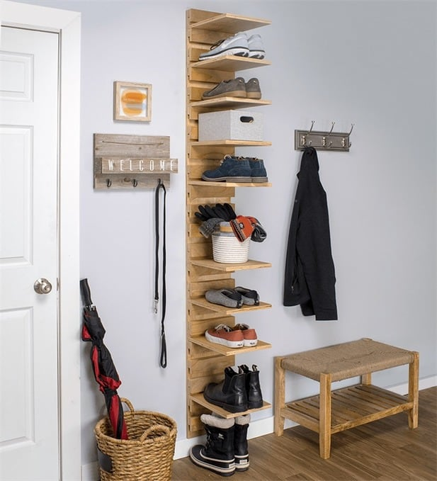 wall mounted shoe organizer diy mississauga painter mississauga carpenter. Black Bedroom Furniture Sets. Home Design Ideas