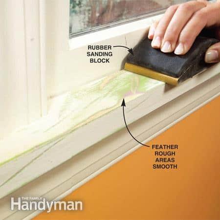 House painters,Sanding wood trim